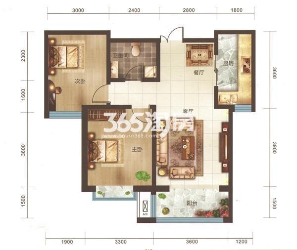 A2户型 两房两厅一卫 面积92.32㎡