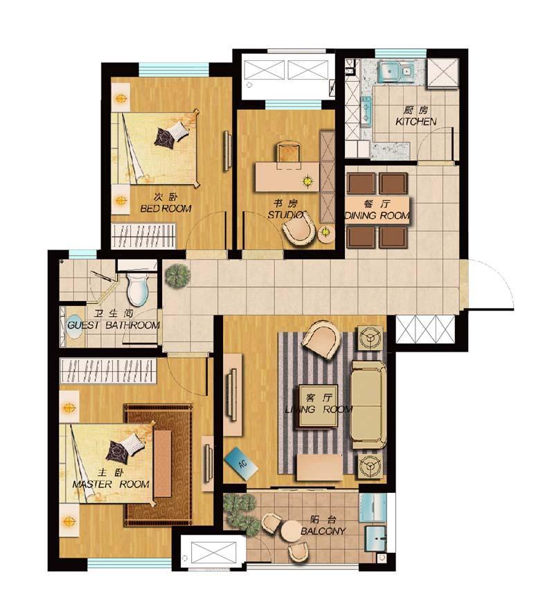 浦口区高新新城香溢紫郡2室2厅户型图