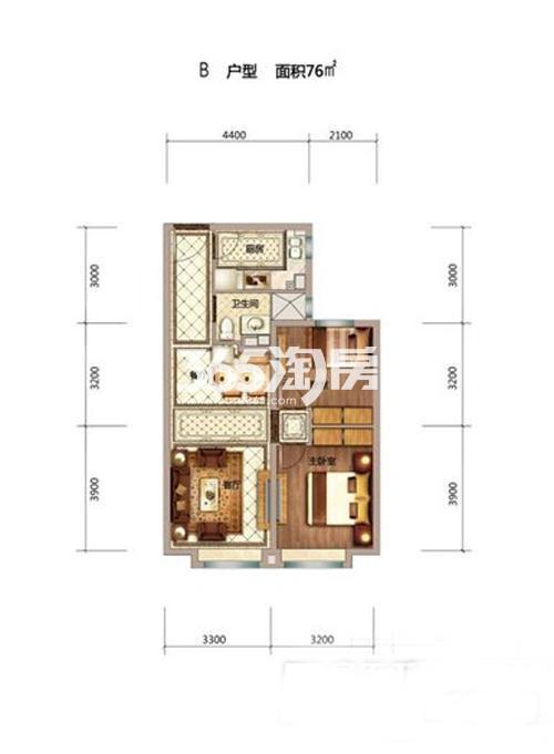 76平米两室