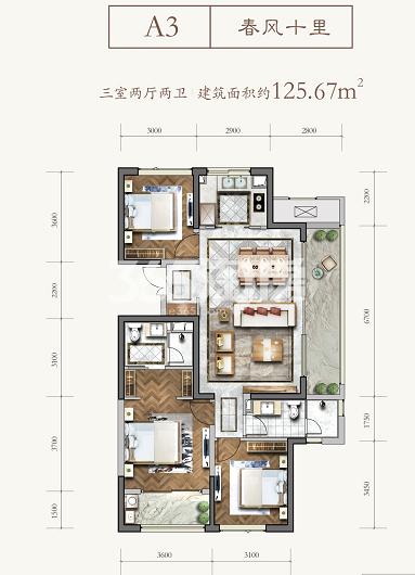 绿城新兴玉园A3三室两厅两卫125.67㎡户型图