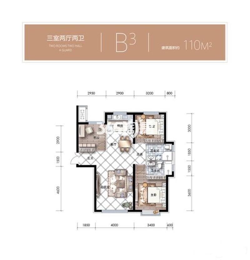 3室2厅1厨2卫 110平米