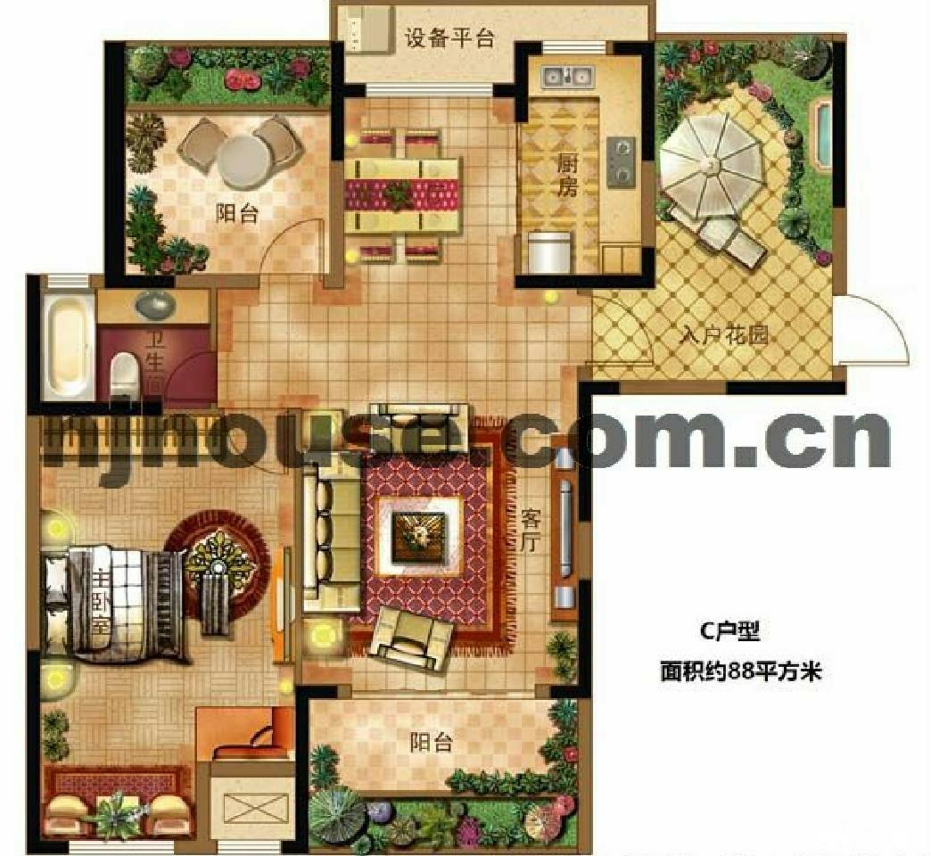 石林大公园3室2厅1卫90平方米273.5万元
