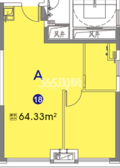 奥园瀚林银座 公寓A户型 64.33㎡