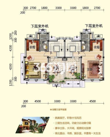 别墅LO16三层平面图