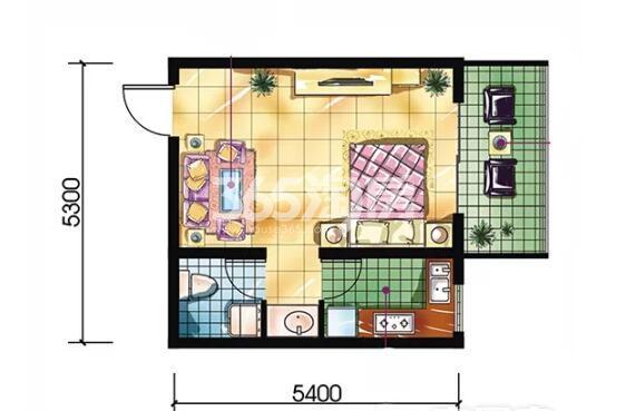 恒天第五座F户型1室1厅1卫约43.45平米