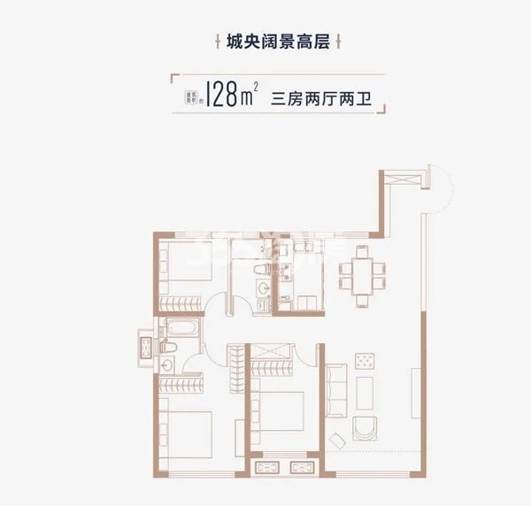 中海·寰宇天下项目户型图(建面约128㎡)