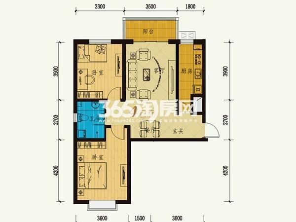 12号楼 4号房 两室两厅一卫 100.32㎡