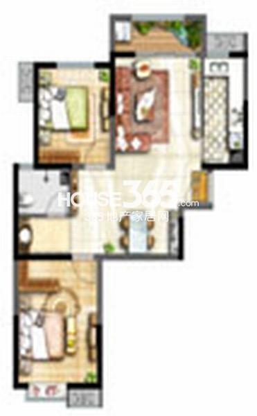 辰宇世纪城学位房19#楼B1户型2室2厅1卫91平米