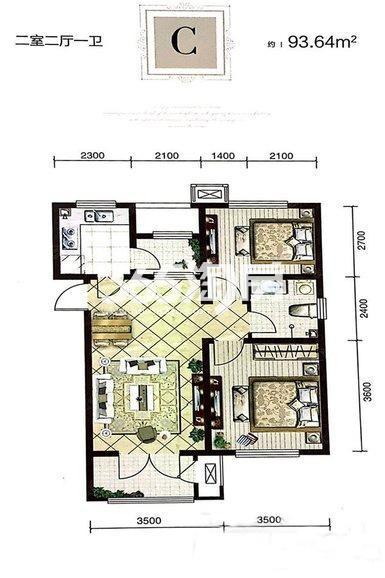 高层C户型 93平米两室