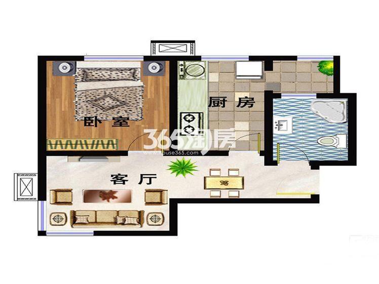 洋房A2户型 63平米一室
