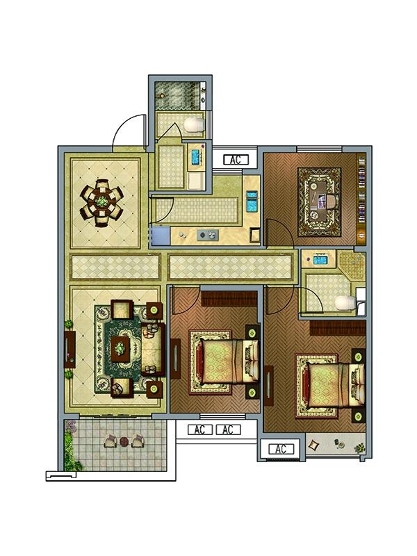 户型图 F-1户型  3室2厅2卫 约114.19平米