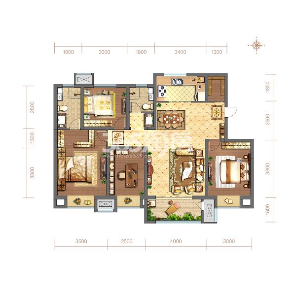 当代嘉宝公园悦MOMΛ134平方米A户型4室2厅2卫