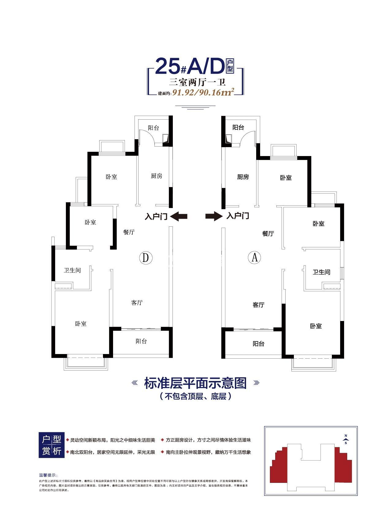 寿县恒大未来城90.16㎡户型图