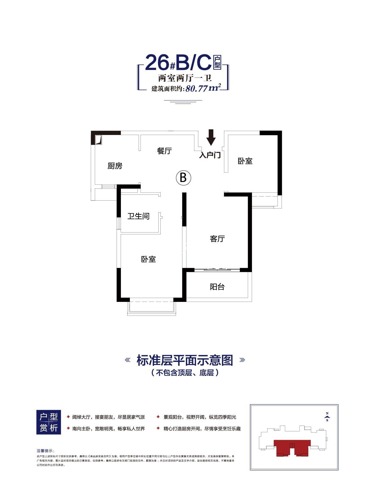 寿县恒大未来城80.77㎡户型图