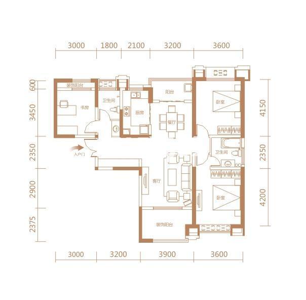 伟业公馆9#E7户型三室两厅两卫一厨133.87㎡