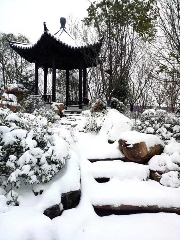 荣盛华府雪景景观-亭(2018.1摄)