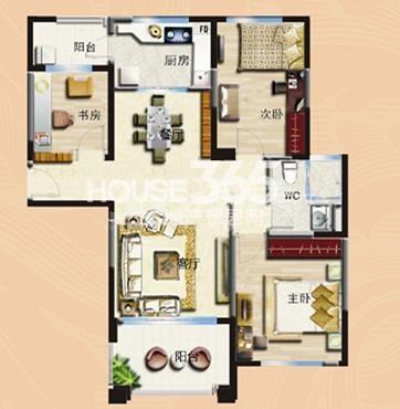 无锡碧桂园三室两厅一卫120平户型图