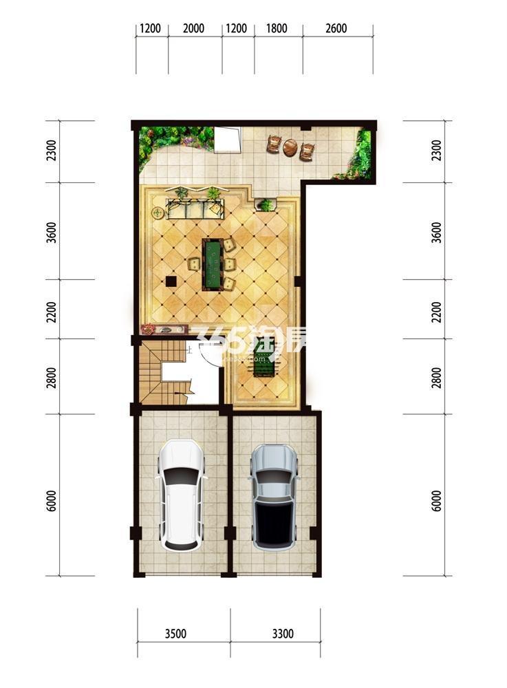 台北上上城花园洋房94㎡负一楼户型图