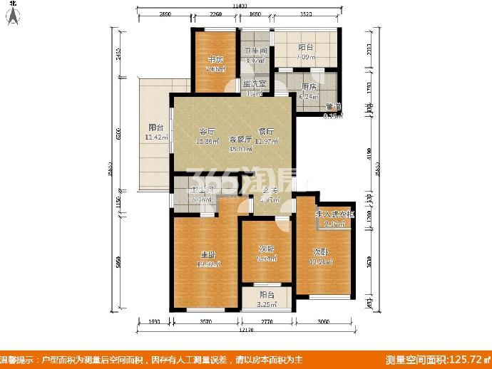 正荣润江城4室2厅2卫144平米赠送35平17年产权房精装