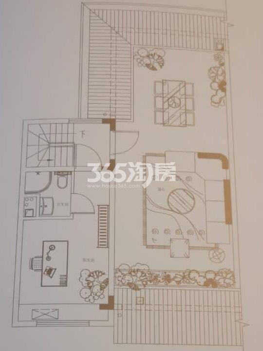 碧桂园国湖五室两厅188.64㎡上叠顶层户型图