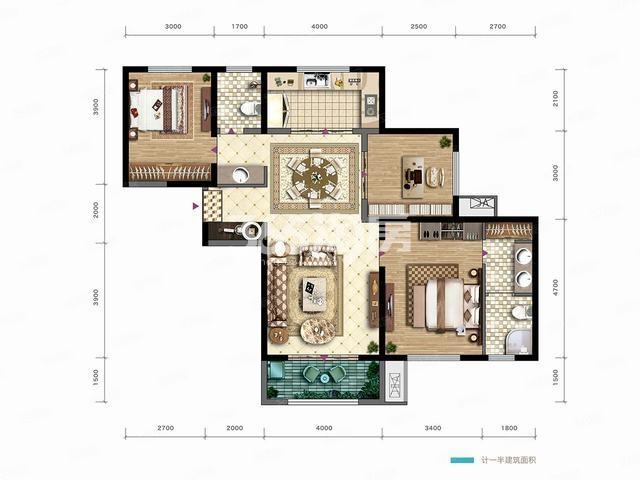 清凉灞柳123平米户型图