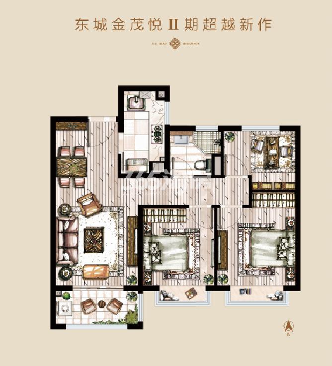 东城金茂悦Ⅱ期建面约89㎡三室两厅一卫户型图