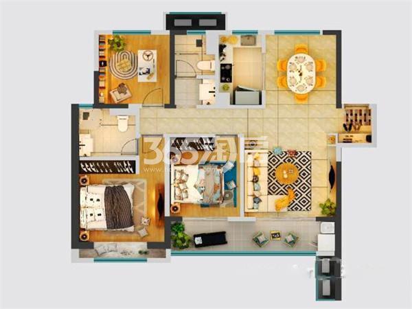 绿地新里城三室两厅115㎡户型图
