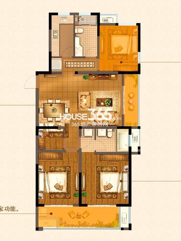 B6#楼J户型 三室两厅两卫 134平