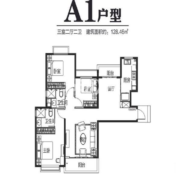 西安恒大雅苑A1三室两厅两卫128.46平
