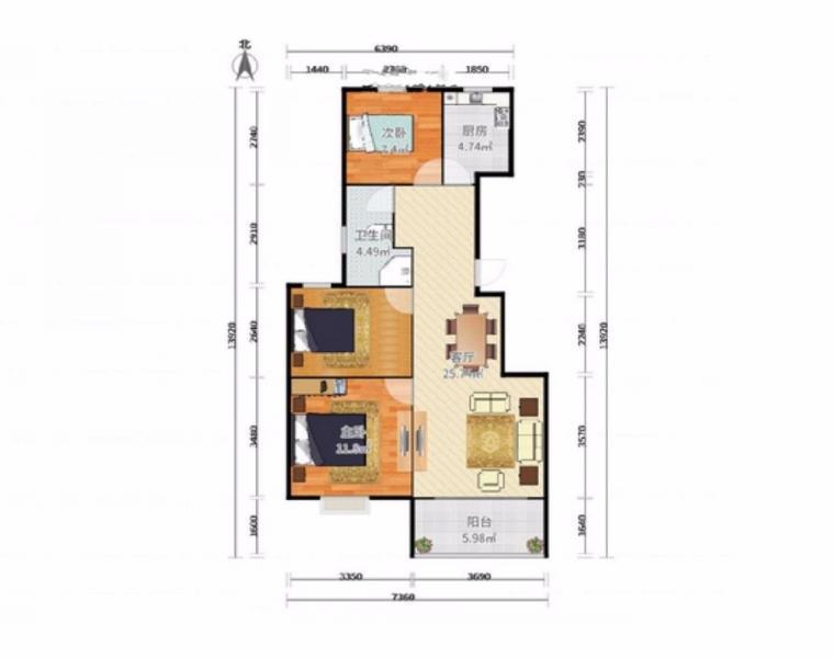 中垠紫金观邸90平方3室大平台
