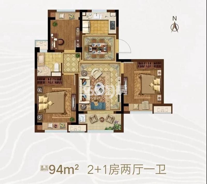 霞客岛生态城94㎡户型图
