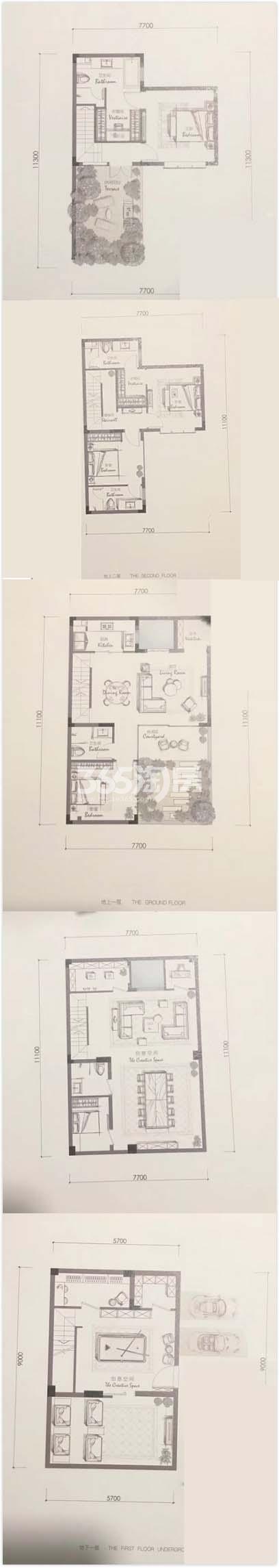 金地滨江万科悦虹湾H1户型排屋140方(21-31#)