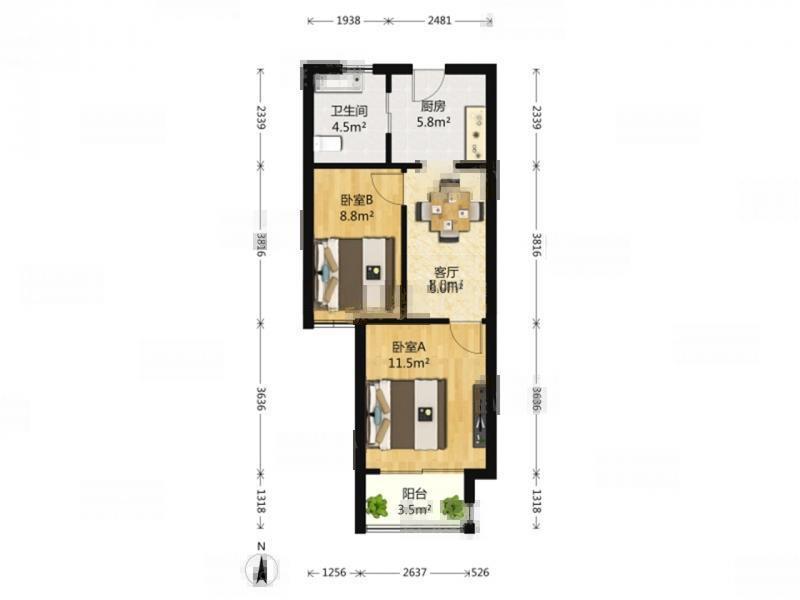 同仁康桥水岸亲情公寓  两房59平米 精装