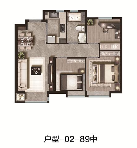 89平米 3室2厅1卫 中户