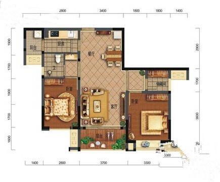 B2户型2室2厅1卫75㎡