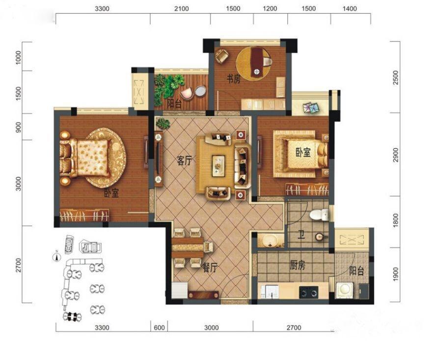A2户型3室2厅1卫71㎡