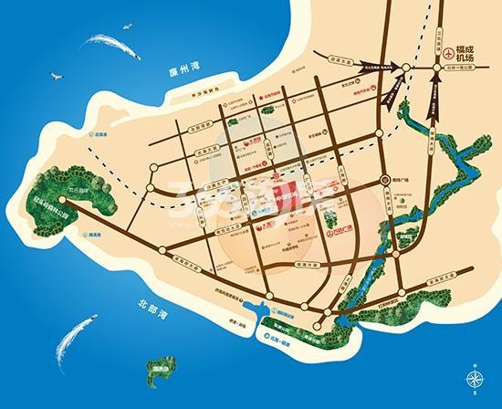 北海中垠悦城交通图