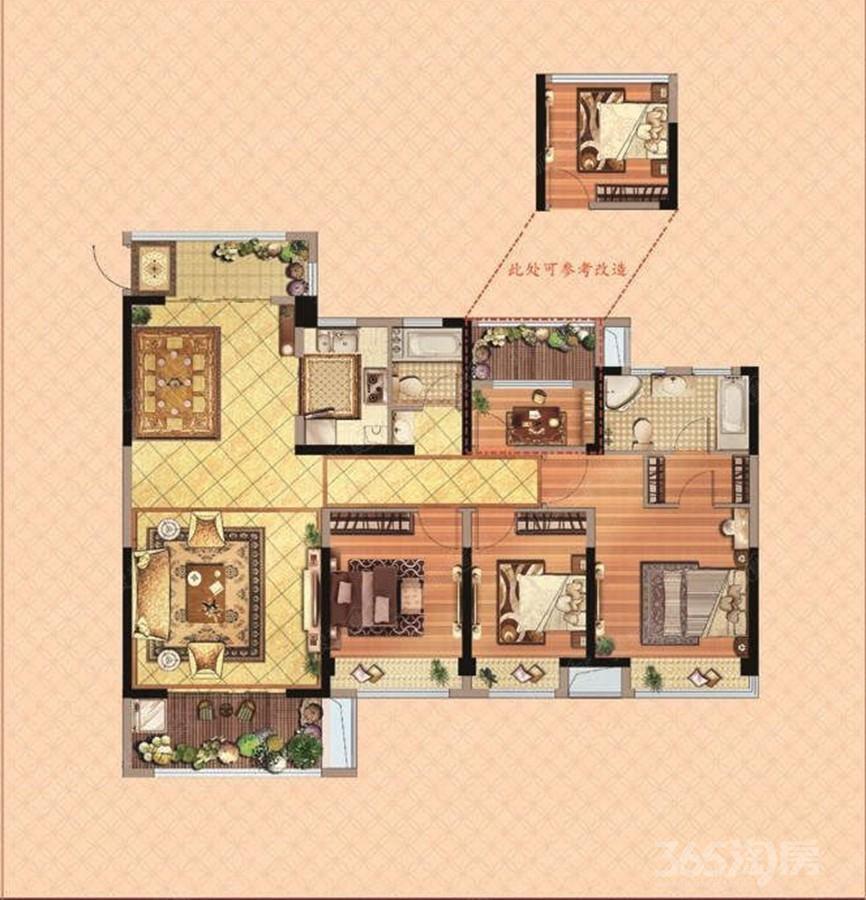 扬州万达广场4室2厅2卫143平米2017年产权房毛坯
