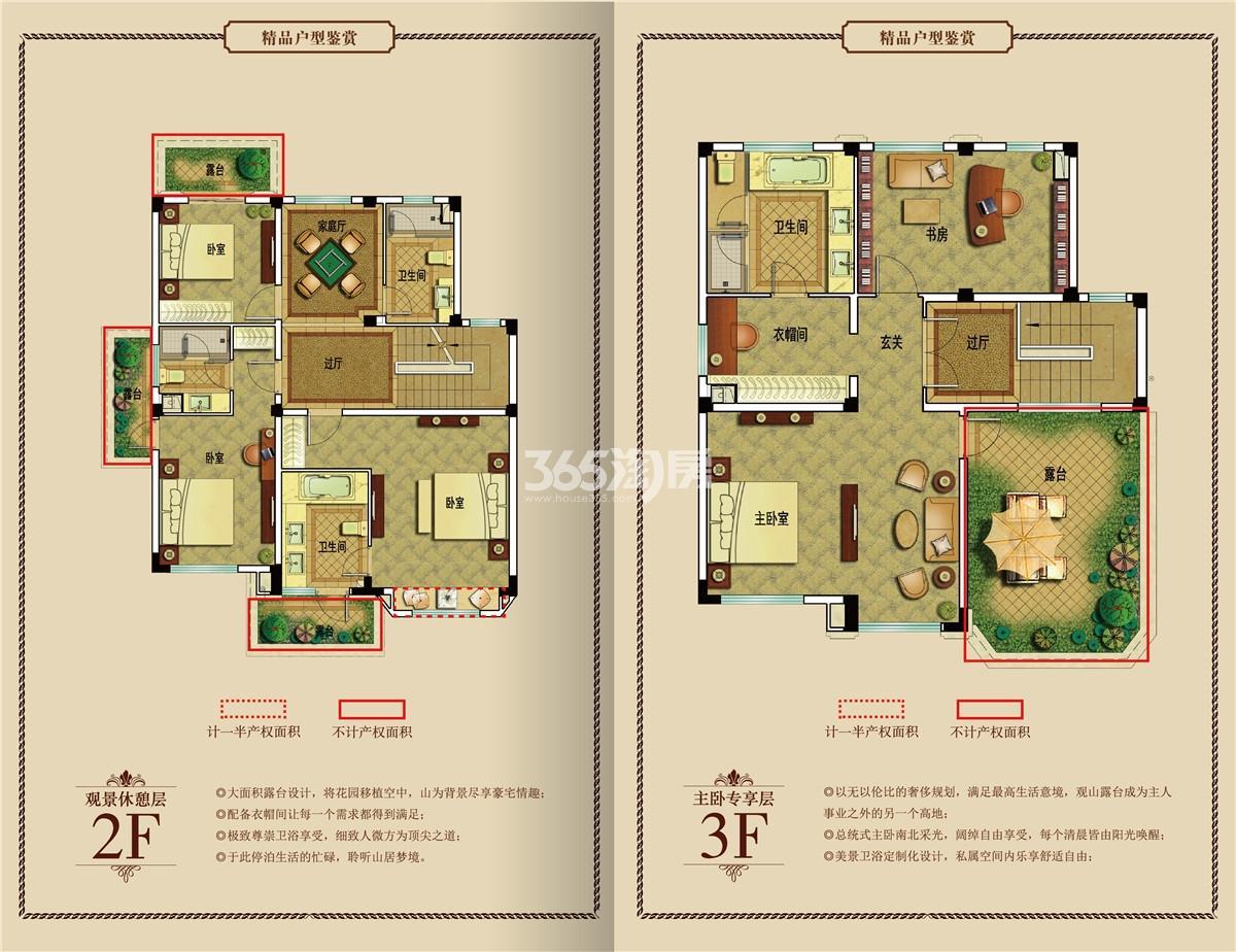 御景园独栋别墅B2户型图2-3F
