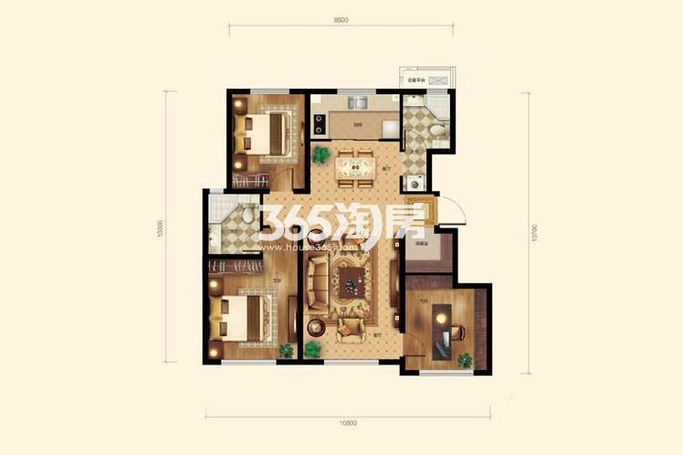 3室2厅2卫1厨117平米