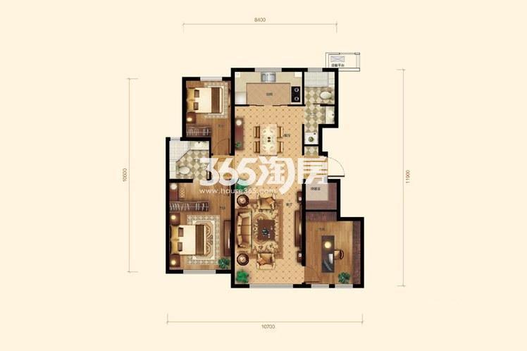 3室2厅2卫1厨127平米