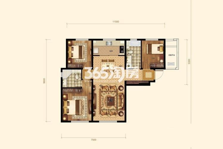 3室2厅2卫1厨 121平米