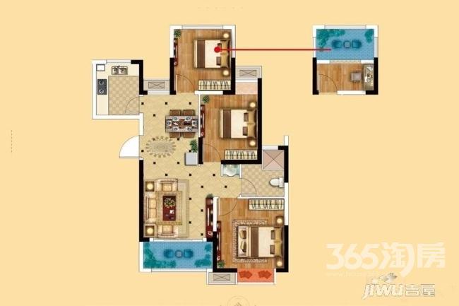 中南锦城3室2厅1卫豪华装万达商圈实小学区轻轨直达