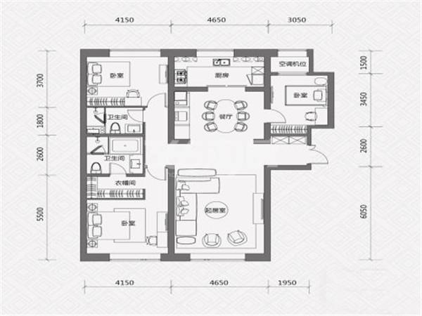C户型, 3室2厅2卫, 约180.00平米