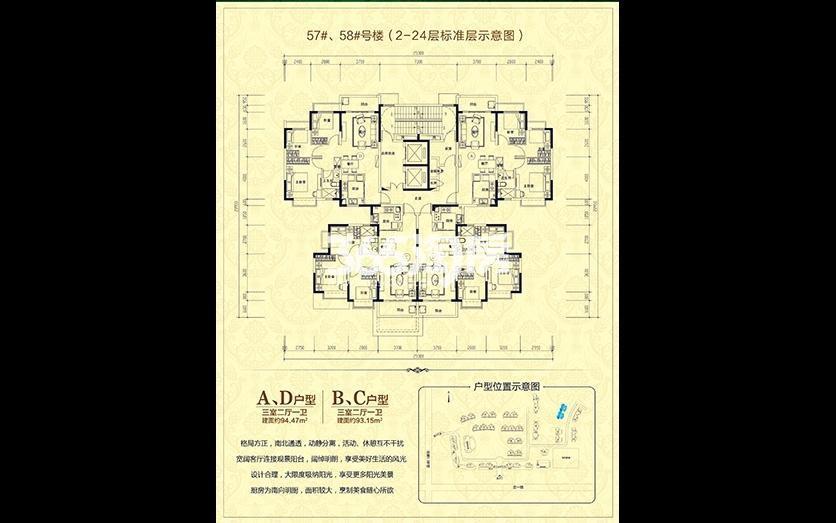 57#、58#号楼(2-24层标准层示意图)