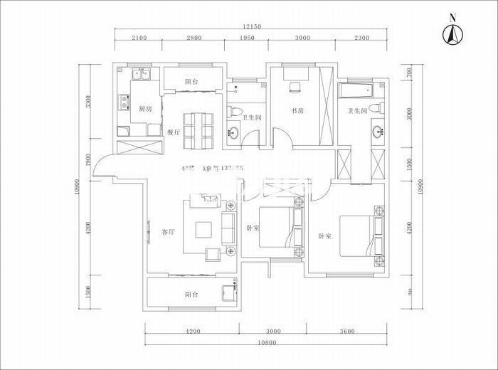 曲江美好时光三室两厅一厨二卫133平米