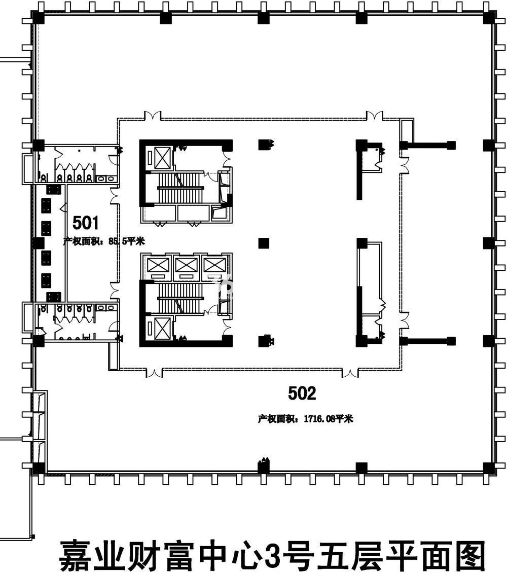 无锡恒大财富中心D栋写字楼5层楼层图