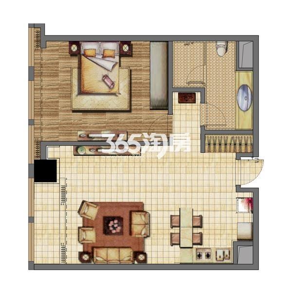 无锡恒大财富中心公寓A1-2楼户型图