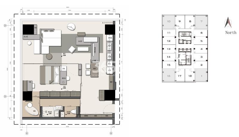 兰基国际公寓1室2卫户型图99.74㎡