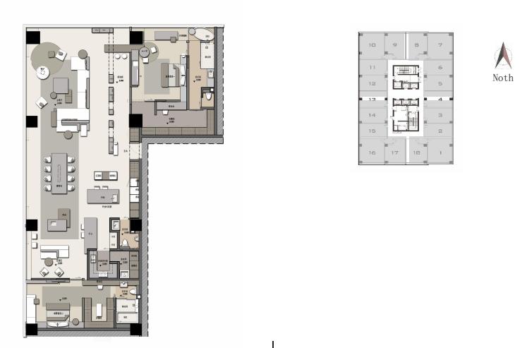 兰基国际公寓2室2卫户型图360㎡